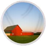 Red Barn And The Moon Round Beach Towel by Alexey Stiop