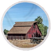 Red Barn And Wagon Round Beach Towel