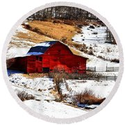 Red Barn  Round Beach Towel