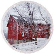 Red Barn Circa 1876 Round Beach Towel by Sue Stefanowicz