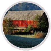 Round Beach Towel featuring the photograph Red Barn by Douglas Stucky