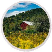 Round Beach Towel featuring the photograph Red Barn In Early Autumn by Shane Holsclaw