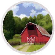 Red Barn In Franklin Tn Round Beach Towel by Janet King