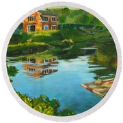 Red Barn In Kennebunkport Me Round Beach Towel