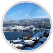 Round Beach Towel featuring the photograph Red Barn In The Distance by Will Borden