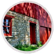 Red Barn In The Shade Round Beach Towel