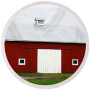 Red Barn- Photography By Linda Woods Round Beach Towel