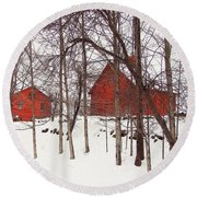 Red Barns Round Beach Towel by Betsy Zimmerli