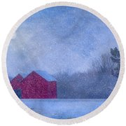Red Barns In The Moonlight Round Beach Towel