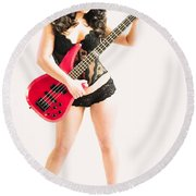 Red Bass Guitar Round Beach Towel