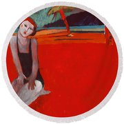 Red Beach Two Round Beach Towel