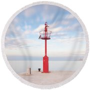 Red Beacon Round Beach Towel
