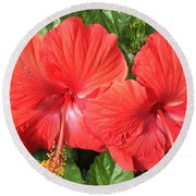 Red Beauties Round Beach Towel