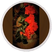 Round Beach Towel featuring the photograph Red Begonias by Thom Zehrfeld