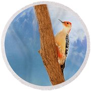 Round Beach Towel featuring the digital art Red Bellied Woodpecker by Darren Fisher