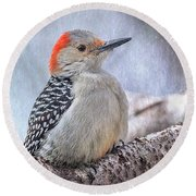 Red-bellied Woodpecker Round Beach Towel by Patti Deters