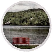 Red Bench Round Beach Towel