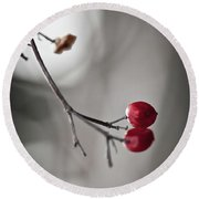 Red Berries Round Beach Towel