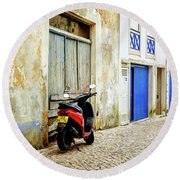 Round Beach Towel featuring the photograph Red Bike by Marion McCristall