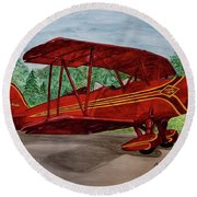 Red Biplane Round Beach Towel by Megan Cohen