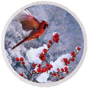 Red Birds Of Christmas Round Beach Towel