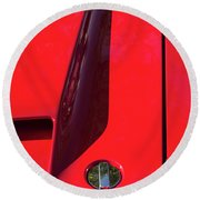 Round Beach Towel featuring the photograph Red Black And Shapes On Hot Rod Hood by Gary Slawsky