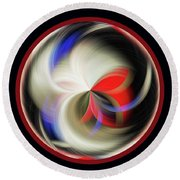 Red Black Orb Round Beach Towel by Judy Wolinsky