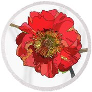 Red Blossom Round Beach Towel