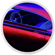 Round Beach Towel featuring the photograph Red Blue Car by Joseph J Stevens