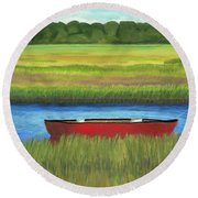 Red Boat - Assateague Channel Round Beach Towel