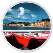 Red Boat Diaries Round Beach Towel