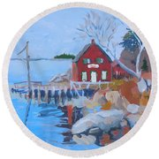 Red Boat House Round Beach Towel