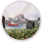 Round Beach Towel featuring the painting Red Boat In Peggys Cove Nova Scotia  by Ian  MacDonald
