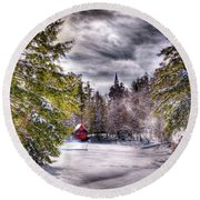 Round Beach Towel featuring the photograph Red Boathouse After The Storm by David Patterson