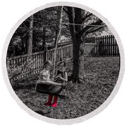 Red Boots Round Beach Towel