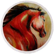Red Breed Round Beach Towel by Khalid Saeed