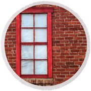 Round Beach Towel featuring the photograph Red Brick And Window by James Eddy