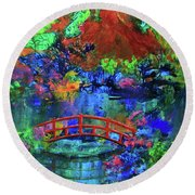 Round Beach Towel featuring the painting Red Bridge Dreamscape by Jeanette French