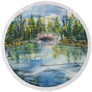 Round Beach Towel featuring the painting Red Bridge On Lake In The Ozarks by Reed Novotny