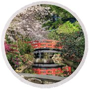 Red Bridge Spring Reflection Round Beach Towel by James Eddy