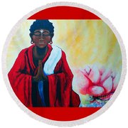 Red Buddha Lotus Round Beach Towel
