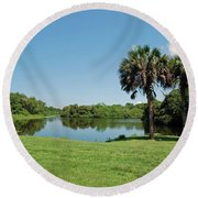 Round Beach Towel featuring the photograph Red Bug Slough by Gary Wonning