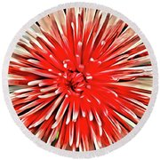 Red Burst Round Beach Towel