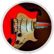 Red Burst Stratocaster Glow Neck Series Round Beach Towel