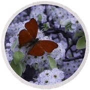 Red Butterfly On Cherry Blossoms Round Beach Towel