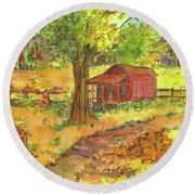 Round Beach Towel featuring the painting Red Cabin In Autumn  by Cathie Richardson