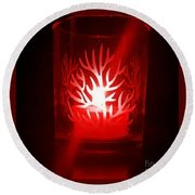 Red Candle Light Round Beach Towel