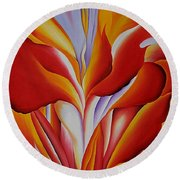 Red Canna Round Beach Towel