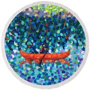 Round Beach Towel featuring the painting Red Canoe On The Lake by Cristina Stefan