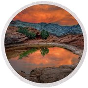 Red Canyon Reflection Round Beach Towel